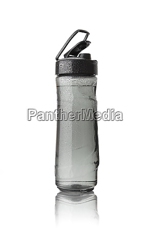 sports bottle is covered with droplets