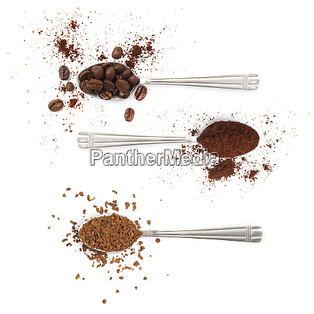 spoons with coffee beans powder and