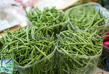 fresh green beans on farmer