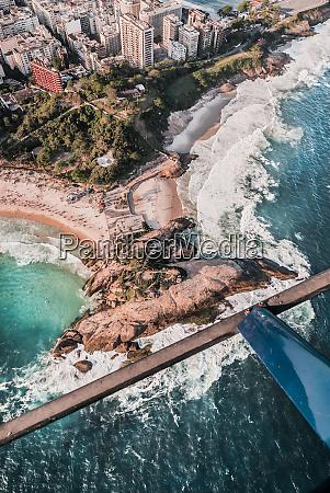 aerial view of arpoador rock ipanema