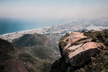 aerial view of pedra bonita rock