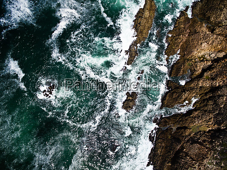 aerial view of rocky cliffs in