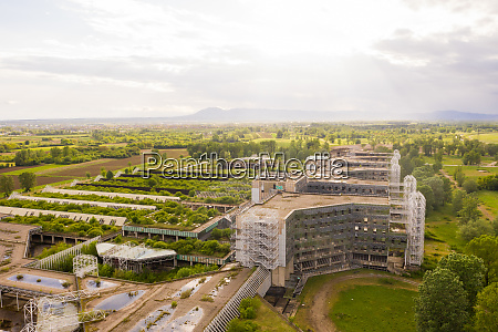 aerial view of unfinished university hospital
