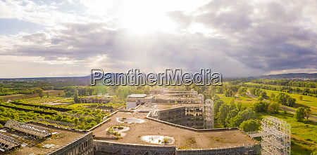 panoramic aerial view of unfinished university
