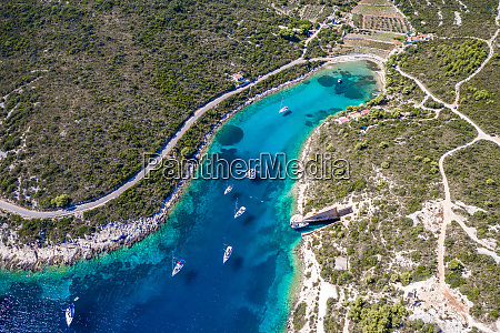 aerial view of boats in the