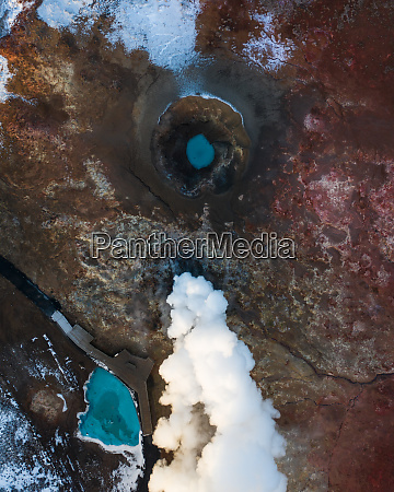 aerial view of geothermal steam pot