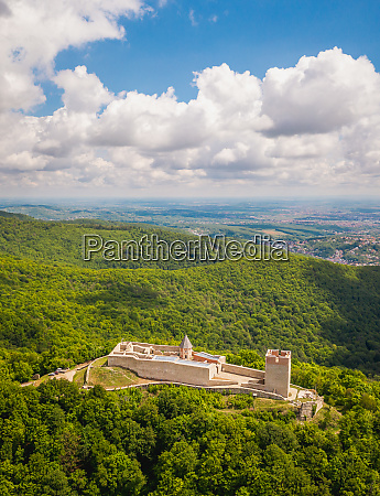 aerial view of medvedgrad castle in