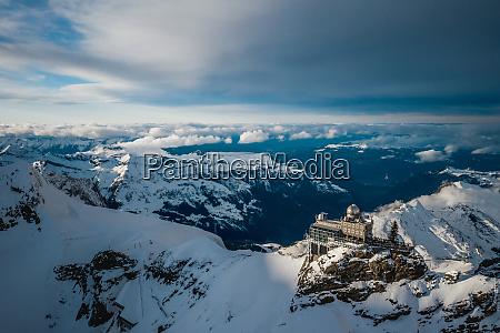 aerial view of jungfraujoch in fieschertal