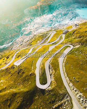 aerial view of furkapass switzerland