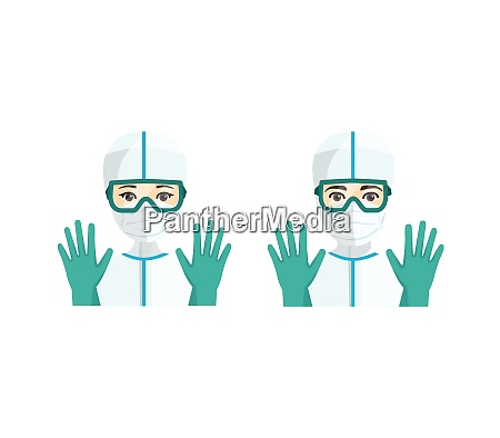 young male and female doctors with