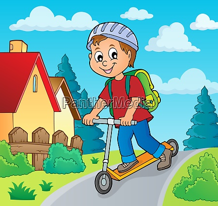 boy on kick scooter theme image