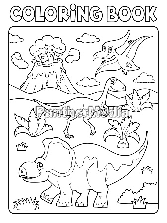 coloring book dinosaur composition image 2