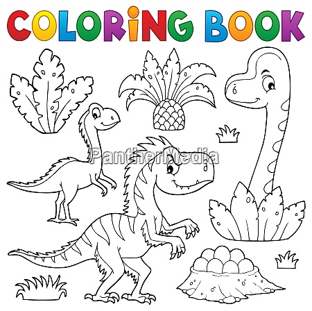 coloring book dinosaur composition image 3