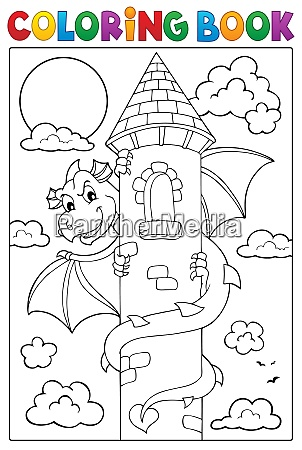 coloring book dragon on tower image