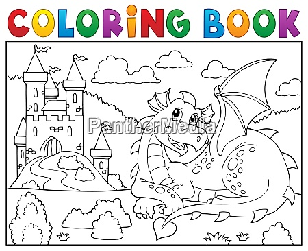 coloring book lying dragon theme 2