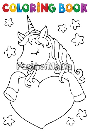 coloring book unicorn and heart 1