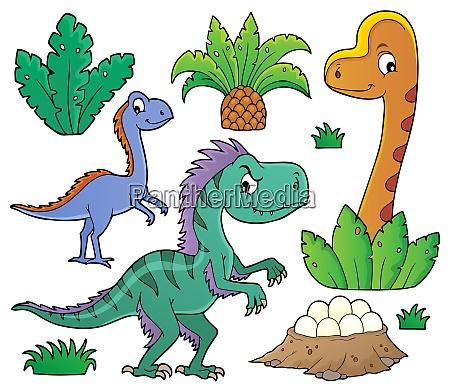 dinosaurs and prehistoric nature theme set