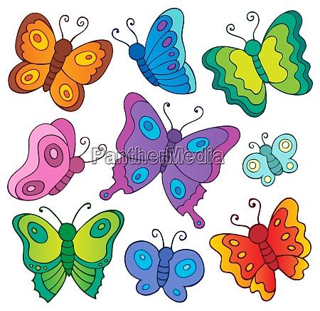 various butterflies theme set 1