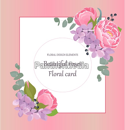 romantic invitation with beauty flowers and