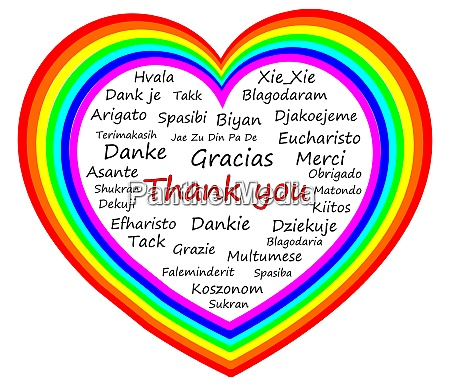 thank you wordcloud on a rainbow
