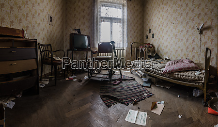 abandoned room with rollator panorama