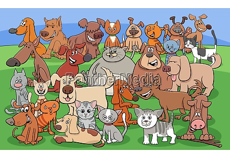 funny dogs and cats cartoon characters