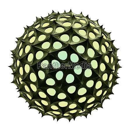 green glowing sphere with spikes isolated