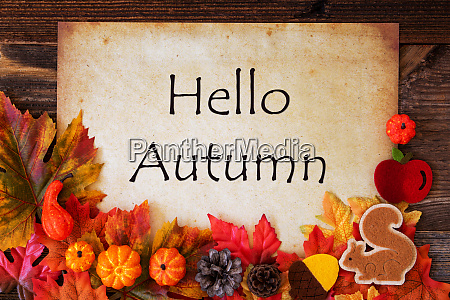 old paper with hello autumn colorful