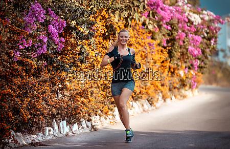 beautiful girl jogging