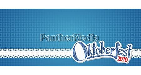 oktoberfest 2020 background with blue white