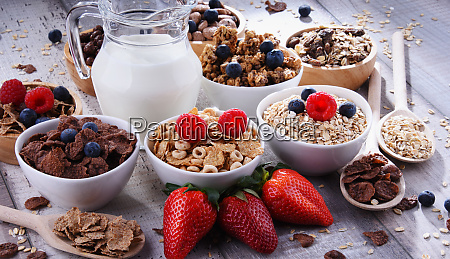 bowls with different sorts of breakfast
