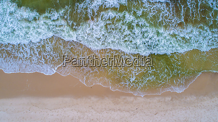 aerial view of the waves on
