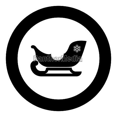 sleigh santa claus black icon in