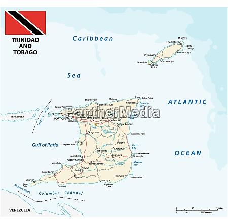 trinidad and tobago road vector map