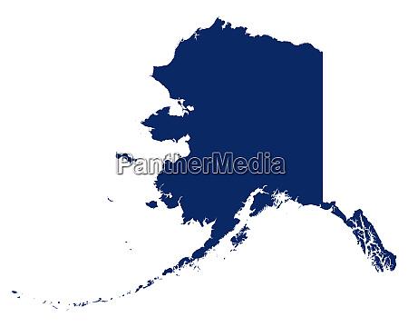 karte von alaska in blauer farbe