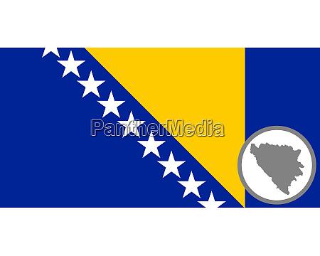 fahne und landkarte von bosnien und