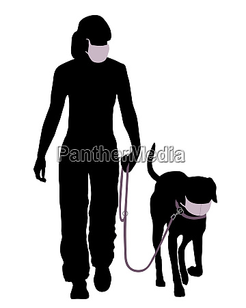 frau und hund mit mundschutz beim