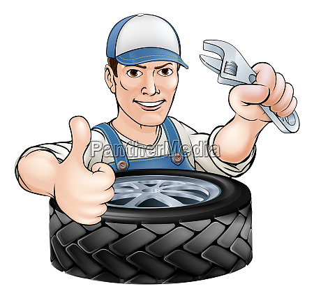 mechanic with wrench and tyre