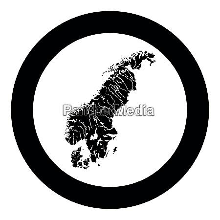 map of scandinavia icon black color
