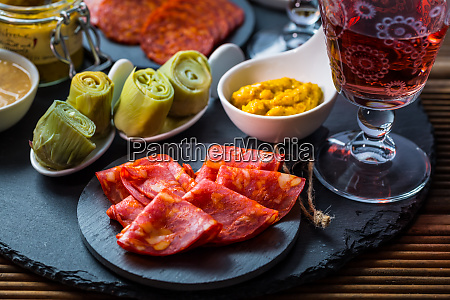 assortment of tapas and antipasti on