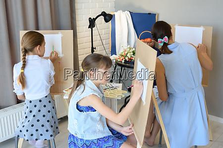 classes in the art studio behind