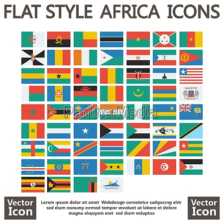 flat style africa flag collection icons