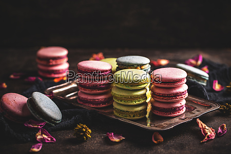 macarons on vintage tray