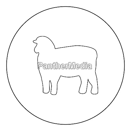 sheep silhouette black icon in circle