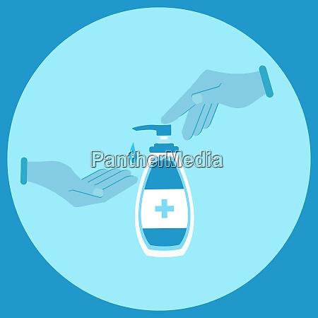 hand sanitizer bottle hand washing illustrations
