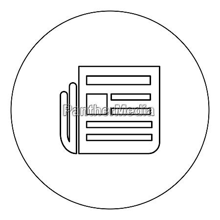 newspaper icon black color in circle