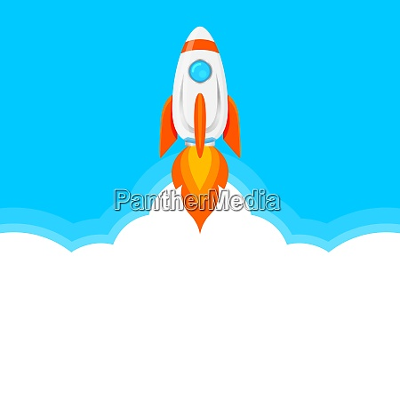 rocket ship on blue and white