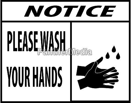 notice wash your hands icon vector
