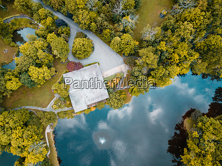 aerial view of a lake in
