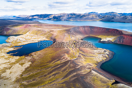 aerial view of crater lakes in